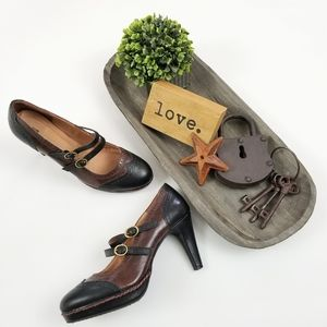 Schuler & Sons brown black wingtip Maryjane heels